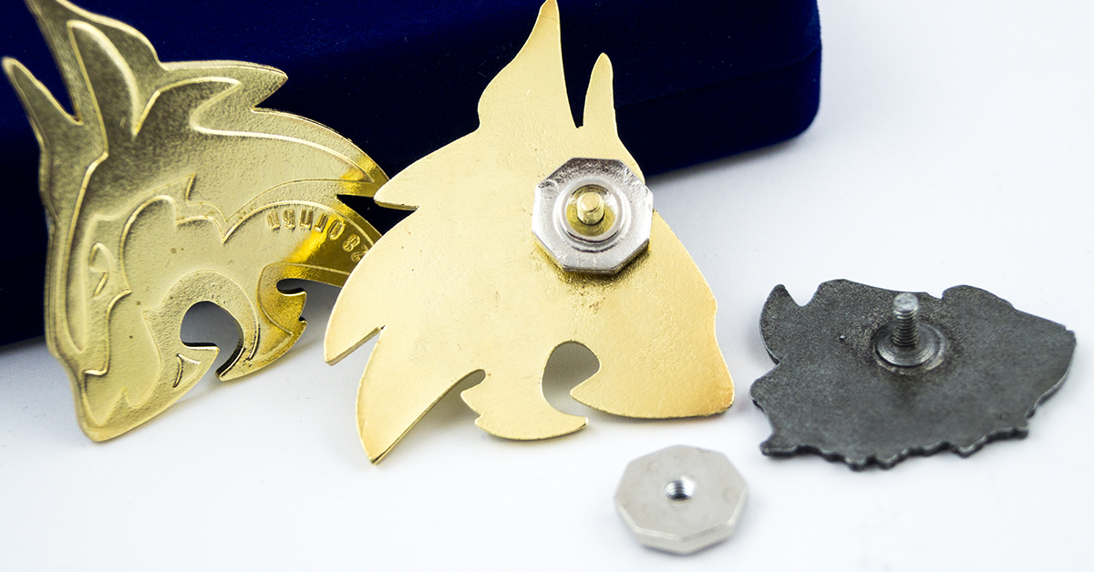 Screw back metal badge pins